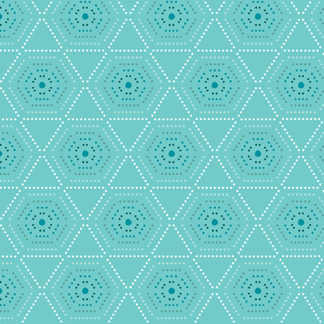 Dharma - Hexagon Geometric Dot Aqua Blue fabric by heatherdutton on Spoonflower - custom fabric