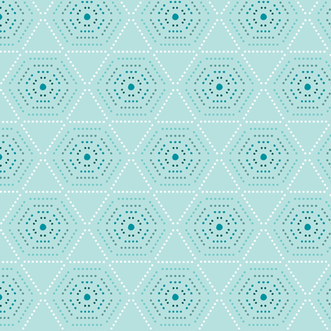 Dharma - Hexagon Geometric Dot Light Aqua Blue fabric by heatherdutton on Spoonflower - custom fabric