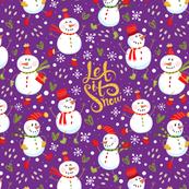 Festive Snowmen - Purple