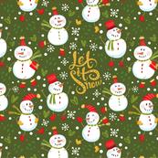 Festive Snowmen - Green B