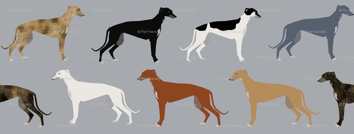 greyhounds fabric larger version - dogs greyhound coats colors ...