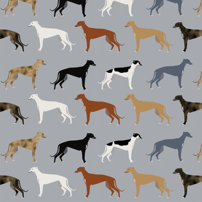 greyhounds fabric larger version - dogs greyhound coats colors fabric