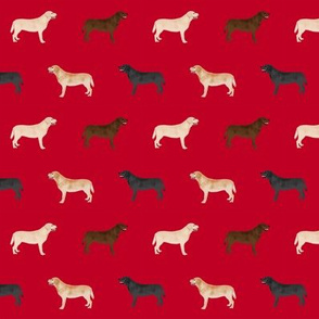 labrador retriever dog fabric dogs design - red