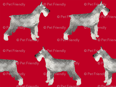 schnauzer dog fabric dogs design - red