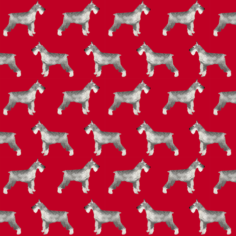 schnauzer dog fabric dogs design - red fabric by petfriendly on Spoonflower - custom fabric