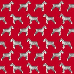 schnauzer dog fabric dogs design - red