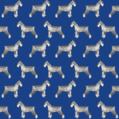 schnauzer dog fabric dogs design - royal blue