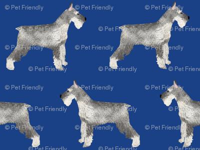 schnauzer dog fabric dogs design - royal blue