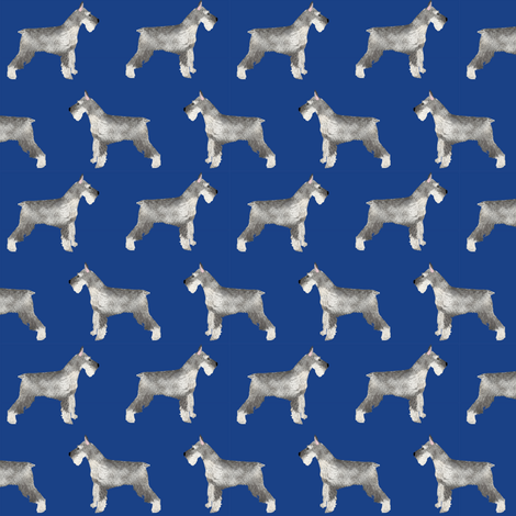 schnauzer dog fabric dogs design - royal blue fabric by petfriendly on Spoonflower - custom fabric