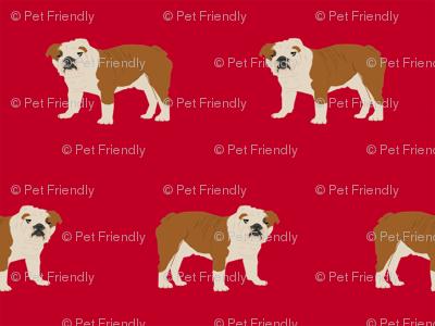 english bulldog dog fabric dogs design - red