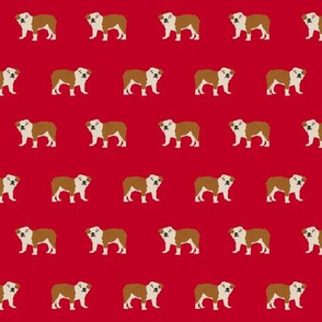 english bulldog dog fabric dogs design - red