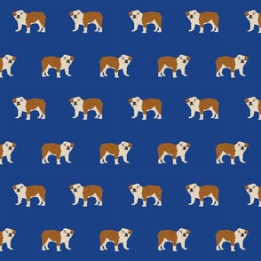 english bulldog dog fabric dogs design - royal blue
