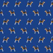 beagle dog fabric dogs design - royal blue