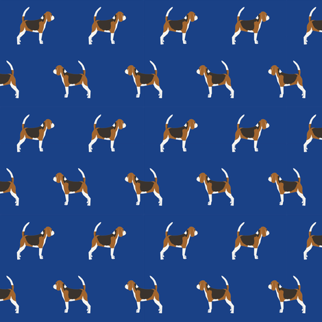 beagle dog fabric dogs design - royal blue fabric by petfriendly on Spoonflower - custom fabric