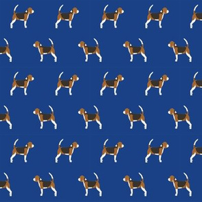 beagle dog fabric dogs design - royal blue