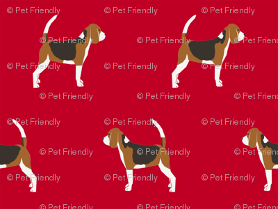 beagle dog fabric dogs design - red