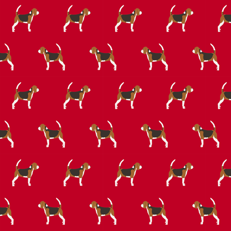 beagle dog fabric dogs design - red fabric by petfriendly on Spoonflower - custom fabric