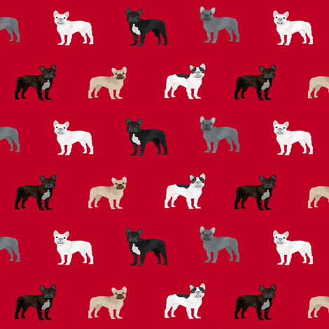 frenchie french bulldogs dog fabric dogs design - red fabric by petfriendly on Spoonflower - custom fabric