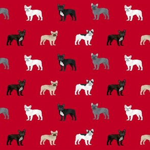 frenchie french bulldogs dog fabric dogs design - red