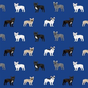 frenchie french bulldogs dog fabric dogs design - royal blue