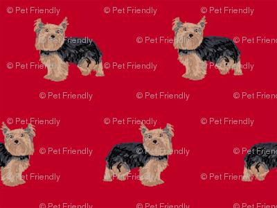 yorkie fabric yorkshire terrier dog fabrics - red