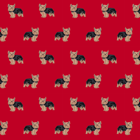 yorkie fabric yorkshire terrier dog fabrics - red fabric by petfriendly on Spoonflower - custom fabric