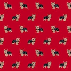 yorkie fabric yorkshire terrier dog fabrics - red
