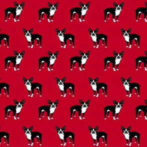 boston terrier fabric dog fabrics - red