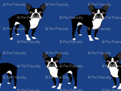 boston terrier fabric dog fabrics - royal blue