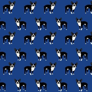 boston terrier fabric dog fabrics - royal blue