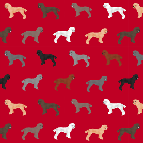 poodle dog fabric poodles dog design - red fabric by petfriendly on Spoonflower - custom fabric
