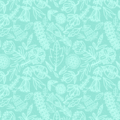 Mint Line Art Flowers