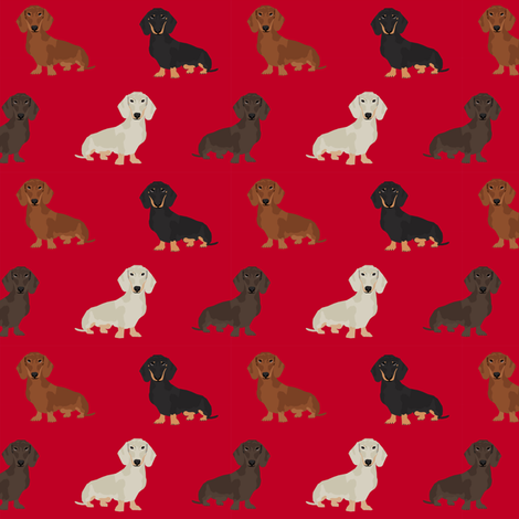 dachshund dog fabric doxie dogs fabric - red fabric by petfriendly on Spoonflower - custom fabric
