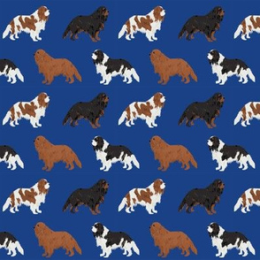 cavalier king charles spaniel dog fabric dogs design - royal blue