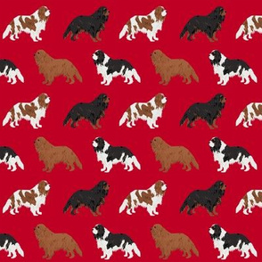 cavalier king charles spaniel dog fabric dogs design - red