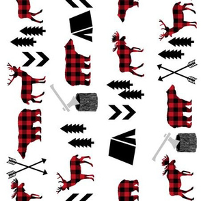 buffalo plaid animals black and red fabric buffalo plaid camper fabric