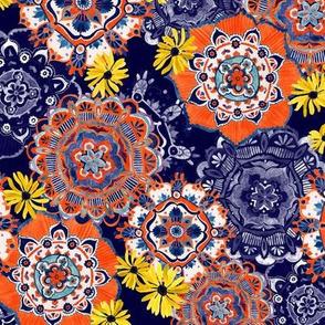 Mandala Medley Blue & Orange