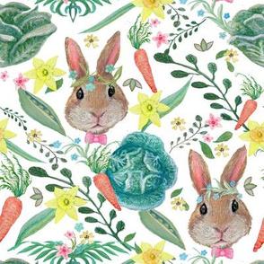 watercolor Rabbit & cabbage, Carrots Nursery