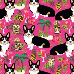 corgi tricolored fabric corgis dog tiki summer tropical fabric - bright pink
