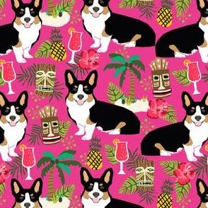 corgi tricolored fabric corgis dog tiki summer tropical fabric - bright pink