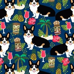 corgi tricolored fabric corgis dog tiki summer tropical fabric - navy