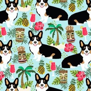 corgi tricolored fabric corgis dog tiki summer tropical fabric - light blue