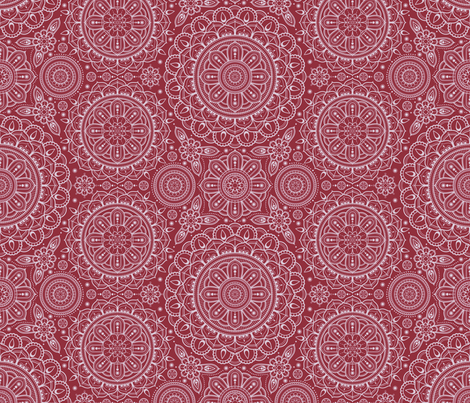 Red Mandalas fabric by woodmouse&bobbit on Spoonflower - custom fabric