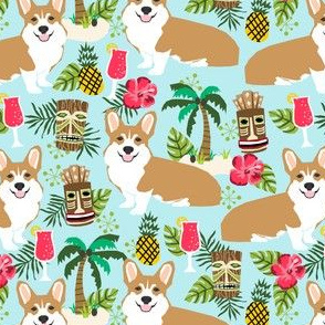 corgi tiki fabric corgis dog tiki summer tropical fabric - light blue