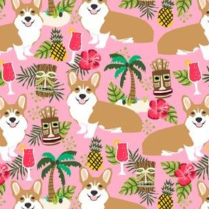 corgi tiki fabric corgis dog tiki summer tropical fabric - pink