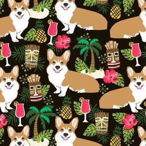 corgi tiki fabric corgis dog tiki summer tropical fabric - black