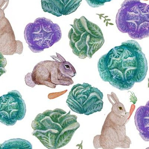watercolor rabbit and cabbage, rabbit and carrot, nursery Spring rabbits in vegetable garden