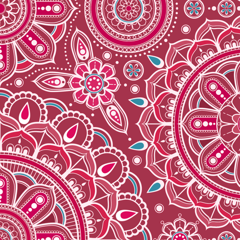 Large Red and Aqua Mandalas fabric by woodmouse&bobbit on Spoonflower - custom fabric