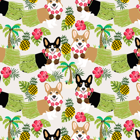 corgi hula fabric hawaiian tropical summer corgis pineapple fabric  fabric by petfriendly on Spoonflower - custom fabric