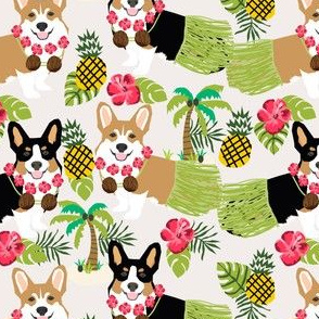 corgi hula fabric hawaiian tropical summer corgis pineapple fabric